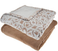 "Berkshire Blanket S/2 50""x70"" Tipped Burnout & Solid Throw"