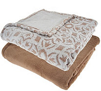 "Berkshire Blanket S/2 50""x70"" Tipped Burnout Throw w/ Solid Throw - H209066"