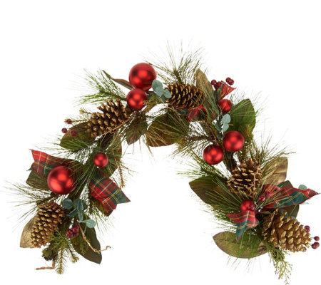 """As Is"" 4' Mixed Pine, Berry and Pinecone Garland Valerie"
