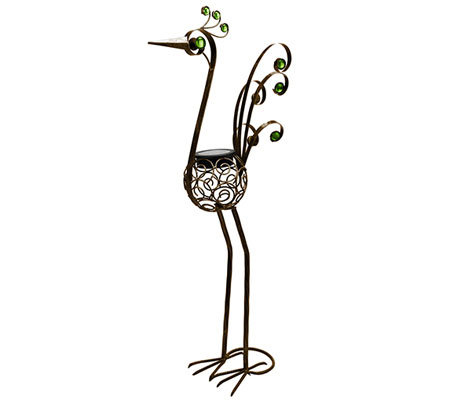 "Exhart 36"" Solar Filigree Bird Garden Statue"