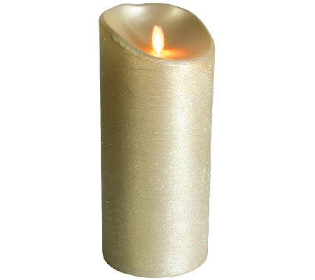 "Luminara 9"" Spun Metallic Ivory Flameless Candle"