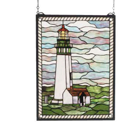 Tiffany Style Yaquina Head Lighthouse Window Panel