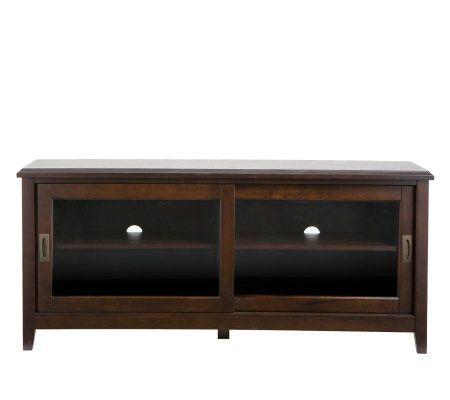 Contemporary Espresso TV Stand with Sliding Glass Doors — QVC.com