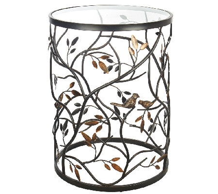 Metal bird and vine table w glass top by valerie for Table and vine