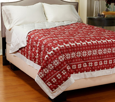 Northern Nights Fair Isle 400TC Extra Warmth QN Reversible Down Blanket