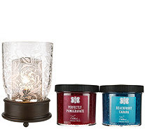 Scroll Design Hurricane Lamp with 2 Packs of Fragrance Beads by Valerie - H207567