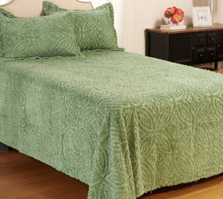 Wedding Ring Chenille 100% Cotton Queen Bedspread with Shams