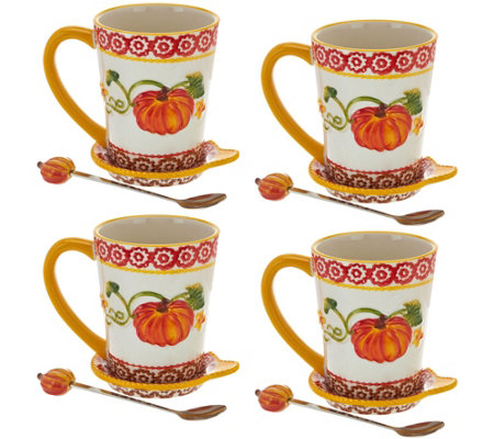 Temp-tations Set of 4 Figural Mugs with Figural Spoon