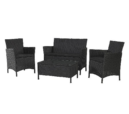 Cosco Outdoor Jamaica 4-piece Resin Wicker Convo Set