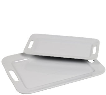 Tabletops Gallery S/2 Rectangular Platters w/ Handles - H283967