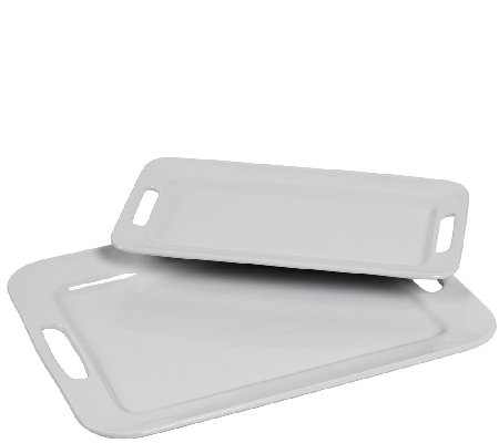 Tabletops Gallery S/2 Rectangular Platters w/ Handles