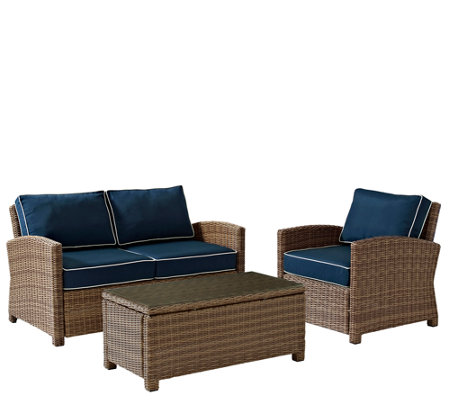 Crosley Bradenton 3-Piece Wicker Seating Set with Cushions