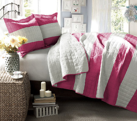Berlin Stripe Hot Pink 2-Piece Twin Quilt Set by Lush Decor