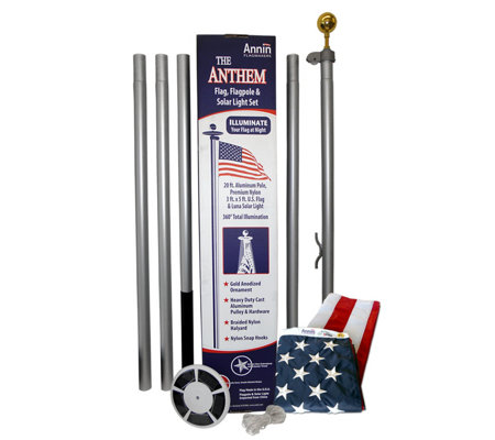 Annin American Flag & In-Ground Flagpole Set with Solar Light