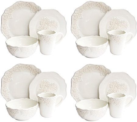 Bianca Medallion White 16-Piece Dinnerware Set