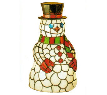 "Tiffany Style 8-1/2"" Snowman Accent Lamp - H58167"