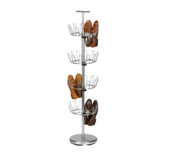 Household Essentials 4-Tier Revolving Shoe Tree- Satin Nickel - H142568