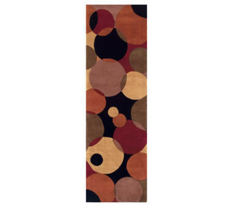 "Momeni New Wave Circles 2'6"" x 12' Handmade Wool Runner - H161768"
