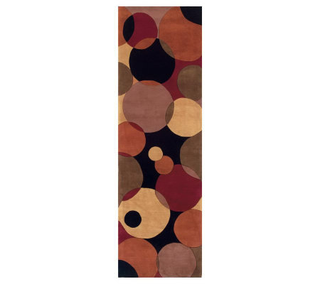 "Momeni New Wave Circles 2'6"" x 12' Handmade Wool Runner"