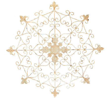 "Plow & Hearth Indoor Outdoor 31.8"" Diameter Metal Snowflake Medallion"