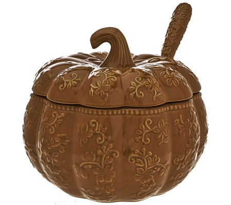 """As Is"" Temp-tations Floral Lace 4 qt. Embossed Pumpkin Tureen"