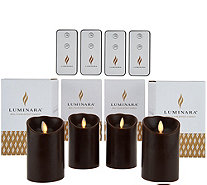 "Luminara (4) 4"" Flameless Candles with 4 Remotes and Gift Boxes - H208268"
