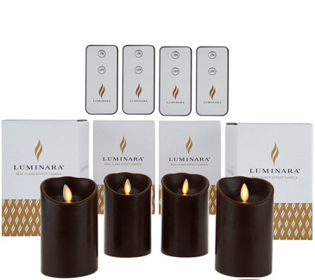 "Luminara (4) 4"" Flameless Candles with 4 Remotes and Gift Boxes"