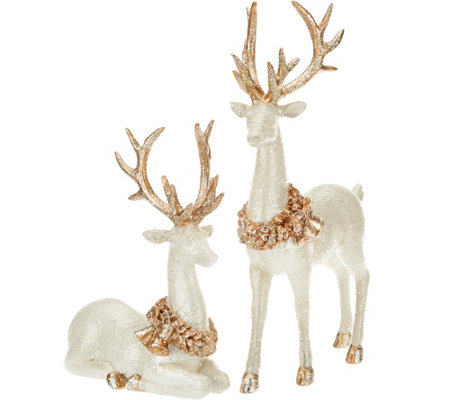 Set of 2 Glittered Vintage Reindeer by Valerie