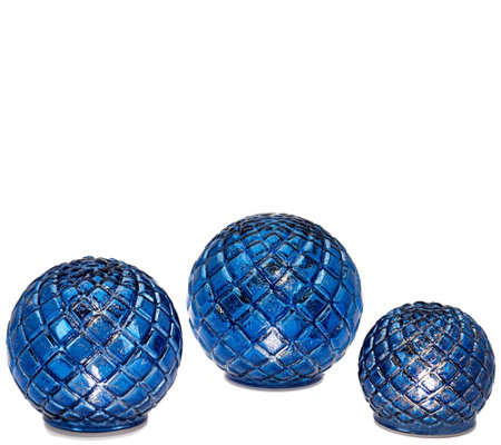 """As Is"" S/3 Illuminated Vintage Glass Quilted Spheres by Valerie"