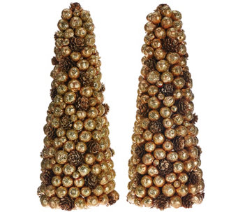 """As Is"" Set of 2 Berry Pinecone Trees by Valerie - H210768"