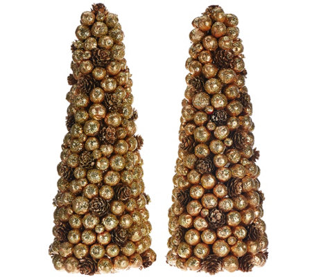 """As Is"" Set of 2 Berry Pinecone Trees by Valerie"