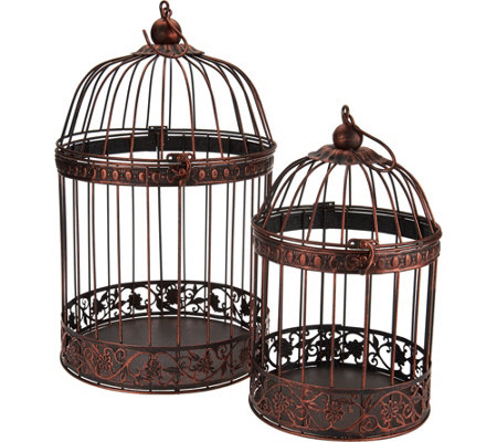 Set of 2 Nested Wrought Iron Birdcages with Hanger