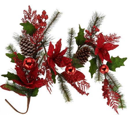 """As Is"" 4' Poinsettia, Ball and Cone Garland by Valerie"