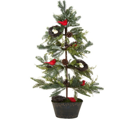"36"" Slim Cardinal Tree with Nests and Pinecones by Valerie"