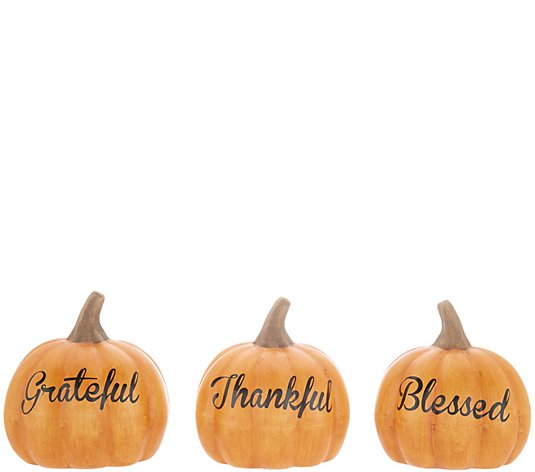 Special T Imports Give Thanks Fall Sayings Decorative Pumpkin Figurines Set of 3
