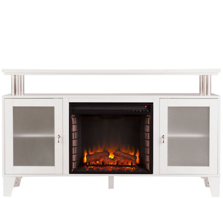 Thomas Media Electric Fireplace in White