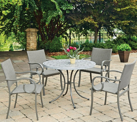 Home Styles Capri Stenciled 5Pc Round Outdoor Table & 4 Chair
