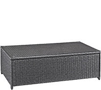 Crosley Palm Harbor Outdoor Wicker Glass Top Table - H295368