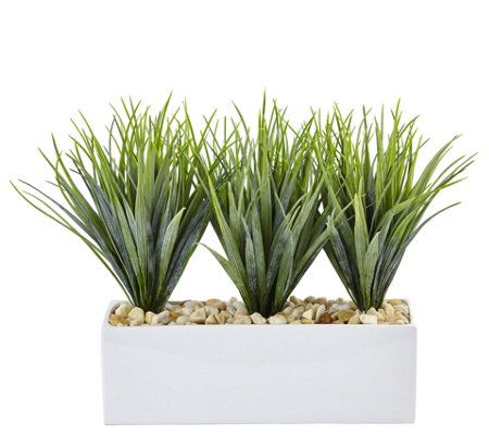 Vanilla Grass in Rectangular Planter by NearlyNatural