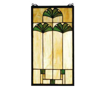 Tiffany Style Ginkgo Flower Window Panel - H124469