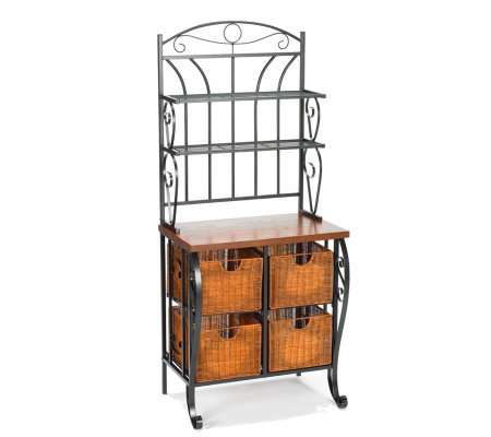 Scrolled Accent Black Baker's Rack with Baskets