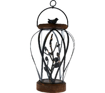"19"" Illuminated Wrought Iron and Wood Lantern by Home Reflections - H205569"