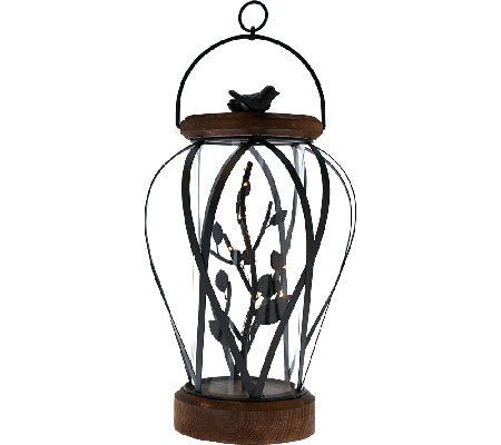 "19"" Illuminated Wrought Iron and Wood Lantern by Home Reflections"