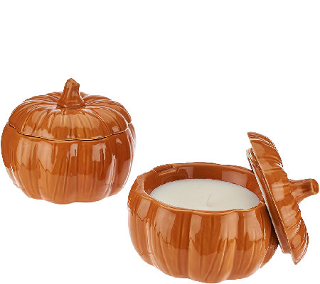 ED On Air Set of 2 Pumpkin Figural Candles by Ellen DeGeneres