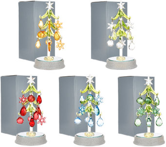 """As Is"" Kringle Express Set of 5 Glass Trees with Ornaments - H207269"