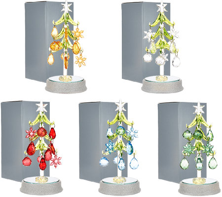 """As Is"" Kringle Express Set of 5 Glass Trees with Ornaments"