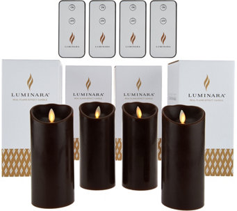 "Luminara (4) 6"" Flameless Candles with 4 Remotes and Gift Boxes - H208269"