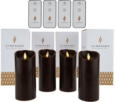 "Luminara (4) 6"" Flameless Candles with 4 Remotes and Gift Boxes"