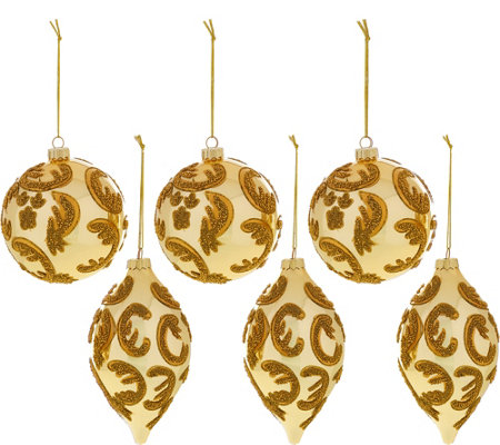 Set of 6 Beaded Ornaments by Valerie