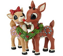 Jim Shore Rudolph and Clarice with Wreath Figurine - H209669